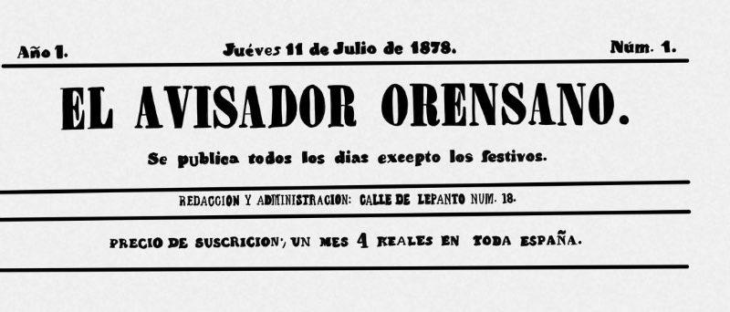 Jueves 11 de Julio de 1878. 'El Avisador Orensano'