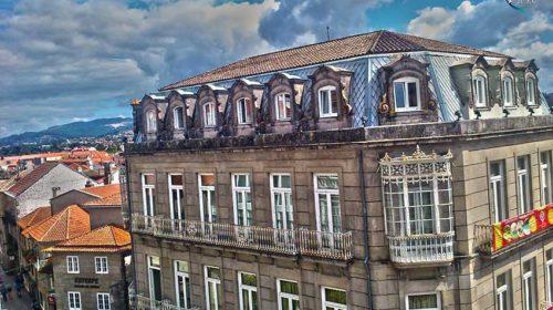 Sobrevolando la Plaza de Curros Enríquez; Pontevedra
