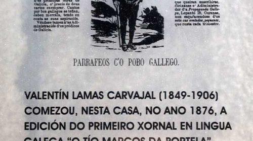 A primeira publicación periódica publicada só en galego: O Tio Marcos d'a Portela