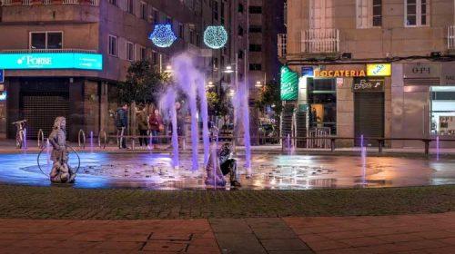 Instalación de la iluminación ornamental de la Fuente de los niños. Pontevedra