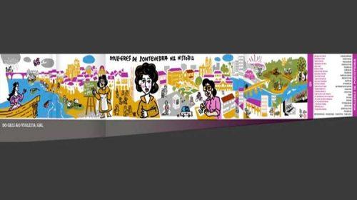 "Un gran mural con 22 nomes de mulleres. O ""mapa violeta"" de Pontevedra"