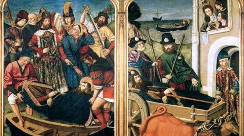 Cando o corpo do Apóstolo Santiago chega a Galicia e topan coa raiña Lupa